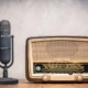 Vintage microphone and radio