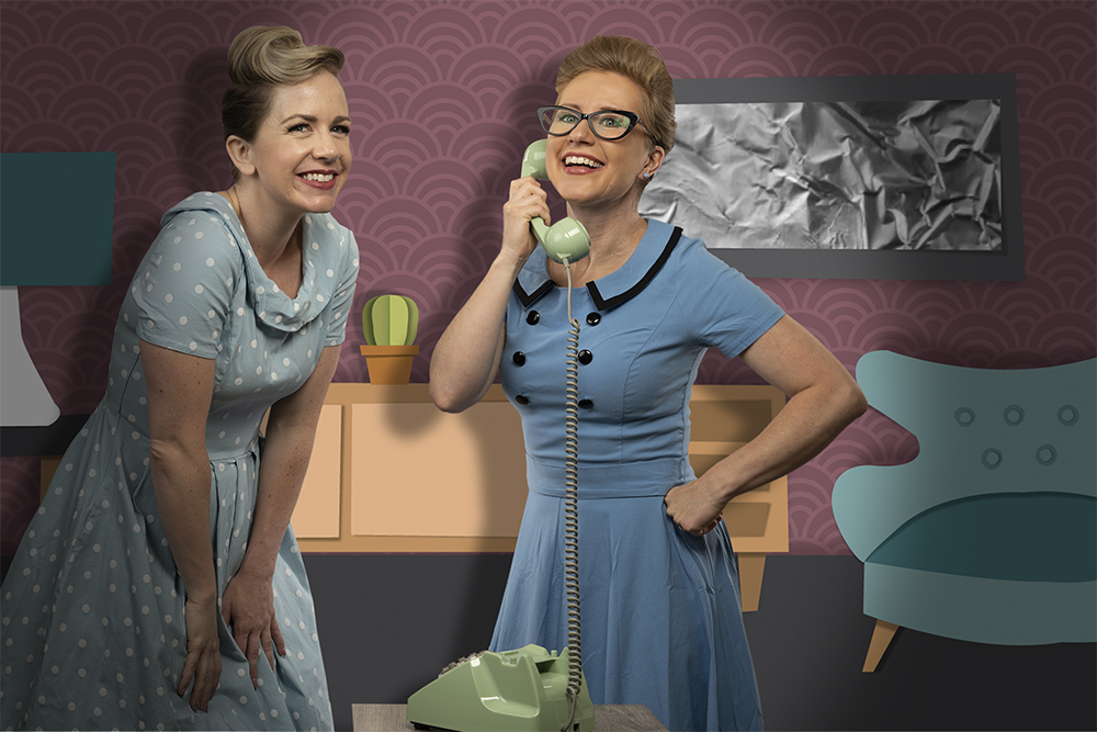 Two women on phone in vintage living room on paper background |1 Day Website Licensing: Communication