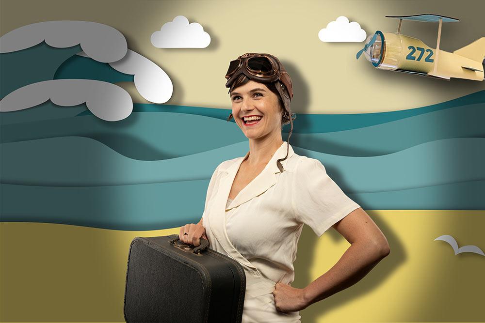 Vintage Pilot on Papercut background | 1 Day Website Licensing: Exploration