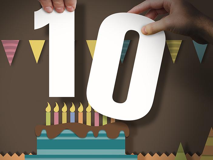 Bizzy Bizzy 10 year anniversary papercut graphic