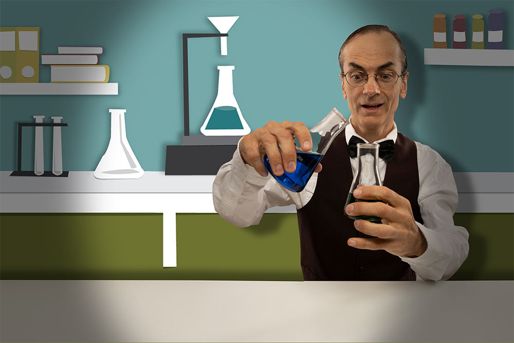 Vintage Scientist experimenting on Papercut background | 1 Day Website Licensing: Innovation