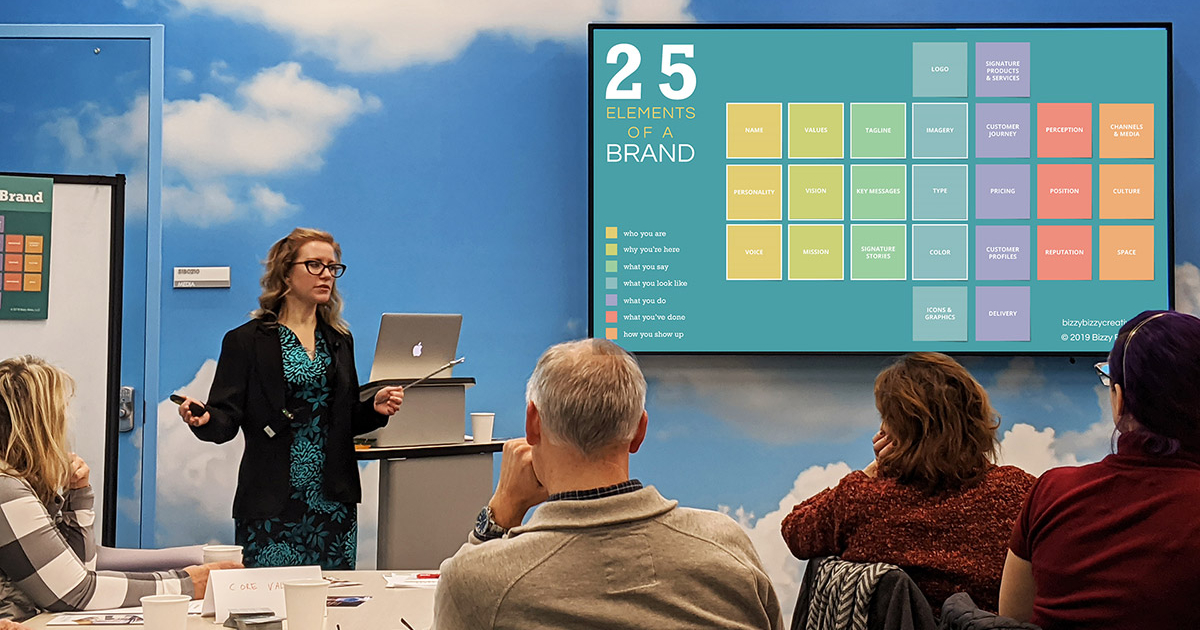 Speaker Candy Phelps presents about branding