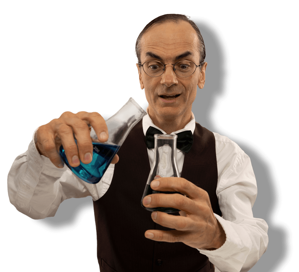 Man doing experiment with beakers