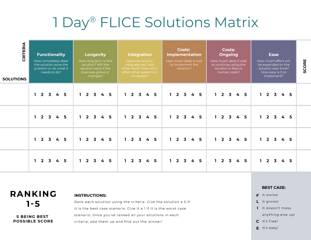 1 Day® FLICE Solutions Matrix