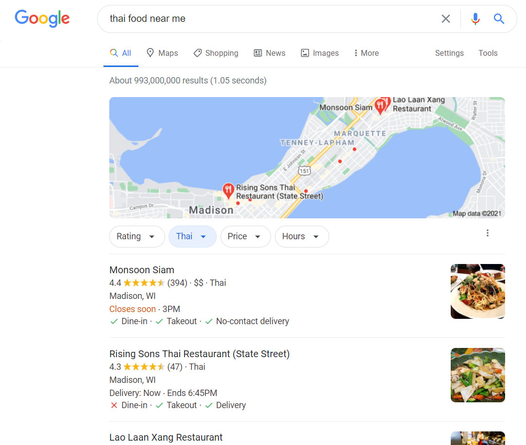 Google My Business Local Map Search Result