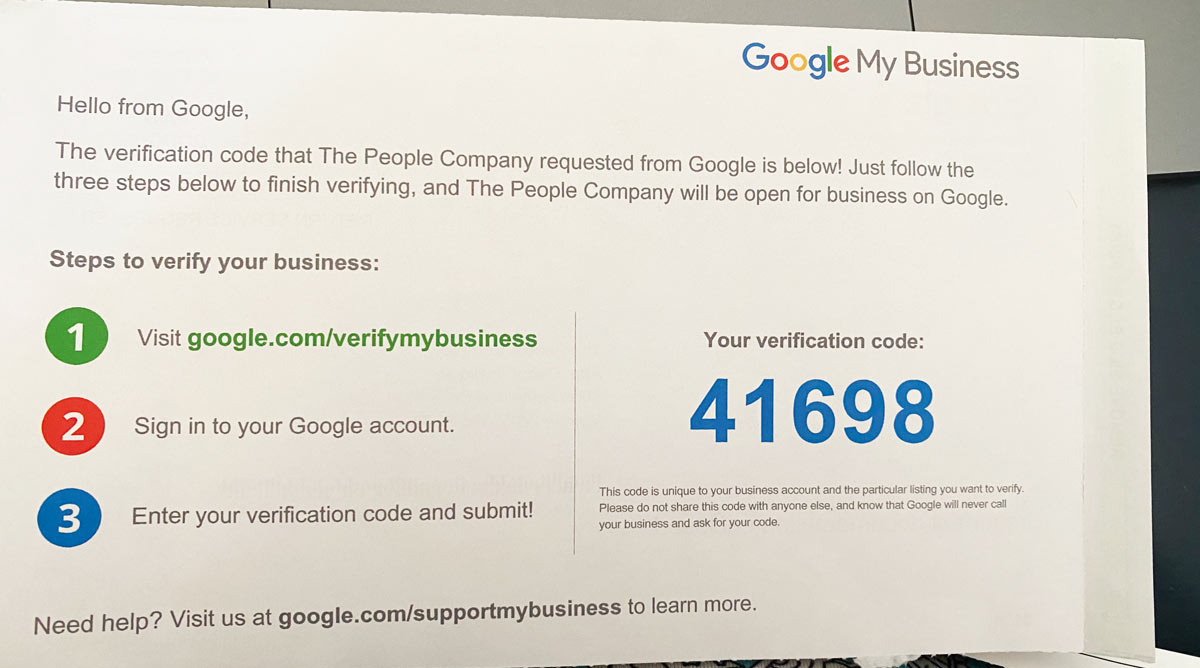 Google My Business verification postcard